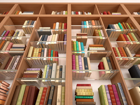 glass shelves: Wooden and glass shelves with different books. Library. 3d illustration. Stock Photo