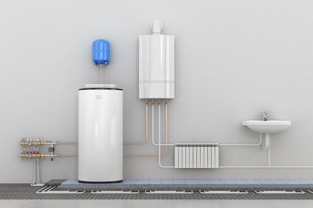 Scheme heating in homes. 3d illustration Stock Photo