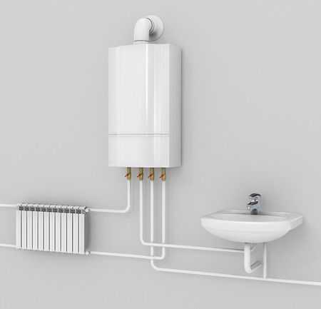 condensing: Energy-saving heating system with thermostats. Smart House. boiler, heating systems. Manifold with Pump. 3d illustration