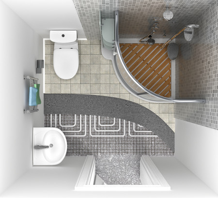 floor heating: floor heating system in the bathroom, top view. 3d illustration