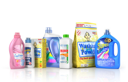 dishwashing liquid: Plastic detergent bottles and washing powder on white background. Cleaning products. 3d illustration