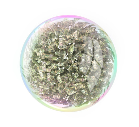 Fraud concept. Soap bubble full of money of different value. 3d illustration