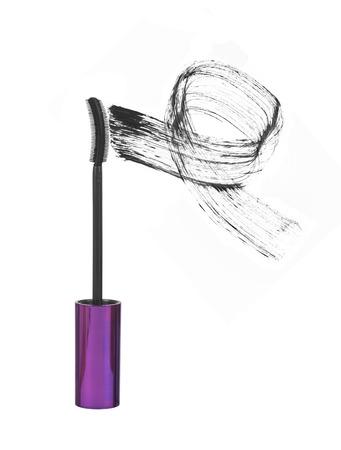smearing: mascara brush strokes isolated on white Stock Photo