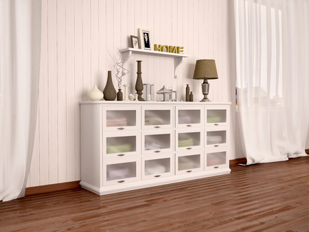 cor: white chest of drawers and filled with different décor in bright room. 3d illustration. Stock Photo