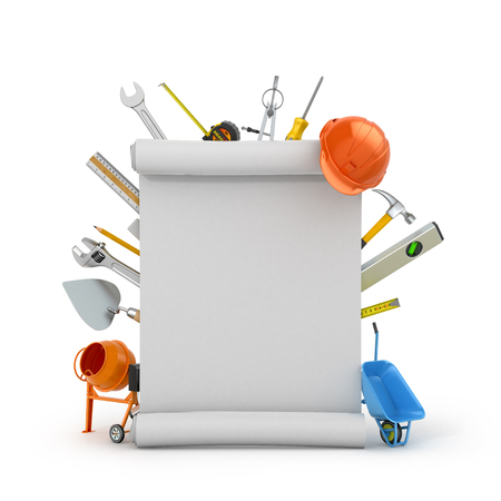 Set building tools vokrung assembly drawing on a white background. 3D illustration