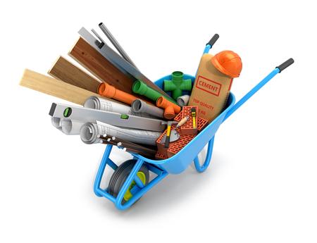 carretilla: Conjunto de materiales de construcción, dibujos y herramientas de ilustración aíslan Background.3d blanco Foto de archivo