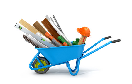 building materials: Set of building materials, drawings and tools isolate white background.3D illustration Stock Photo