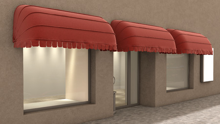 boutique display: store exterior, 3d illustration