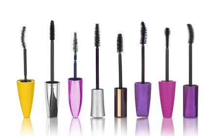Set of mascara brushes isolated on white