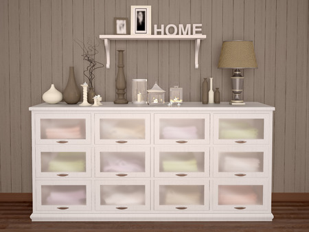 chest wall: white chest of drawers filled with various things and decoration on dark wall background. 3d illustration. Stock Photo