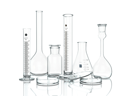 3D render, illustration. Empty laboratory Glassware on white background with reflection isolated on white
