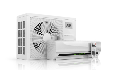 condenser: air conditioning isolated on white. 3d illustration Stock Photo