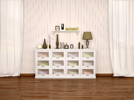white chest of drawers and filled with different décor in bright room. 3d illustration.