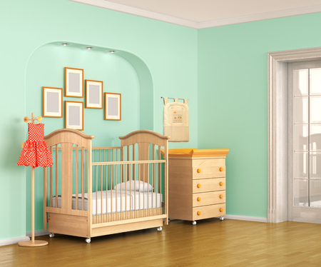 playroom: Colorful interior of nursery. Frontal view. 3d illustration Stock Photo