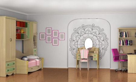 cosy: Childrens room for the baby. Room for girls. 3D illustration