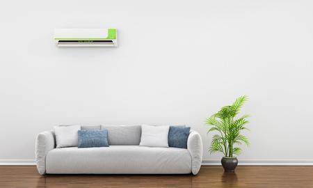 middle air: Modern interior with sofa, plant and air conditioner. 3d illustration Stock Photo