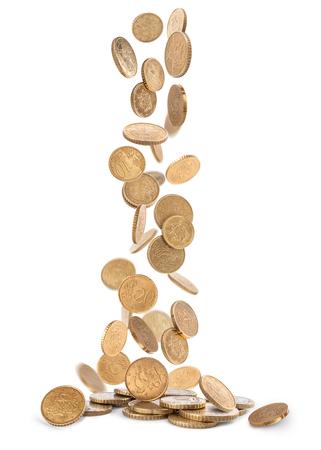 Haufen von Goldmünzen auf den Boden fallen Standard-Bild - 62280294