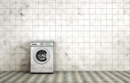 dirty room: Dirty washing machine in the empty dirty room in grunge style. Tiled room. 3d illustration