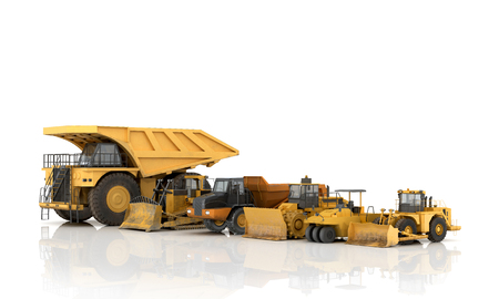 compact track loader: Set of automotive engineering building on a white background.3d illustration