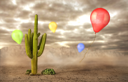 broken love: Concept of danger. Soap bubbles flying near the cactus on a desert background. Risk. 3d illustration Stock Photo