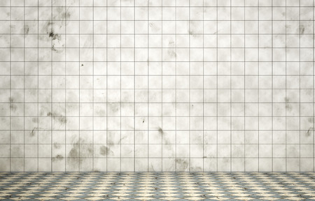 dirty room: Empty dirty room in grunge style. Tiled room. 3d illustration Stock Photo
