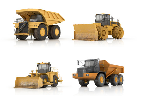 graders: Set of automotive engineering building on a white background.3d illustration