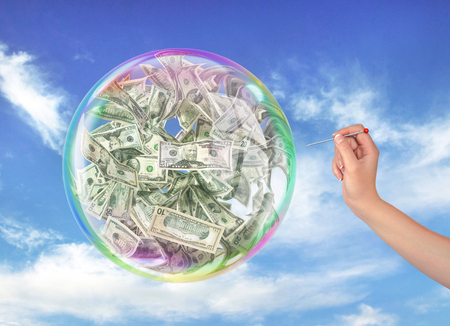 Fraud concept. The womans hand holding the needle directed to the soap bubble full of money on a sky background. Finance risk. 3d illustration