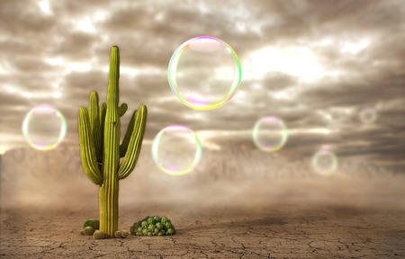 disastrous: Concept of danger. Soap bubbles flying near the cactus on a desert background. Risk. 3d illustration Stock Photo
