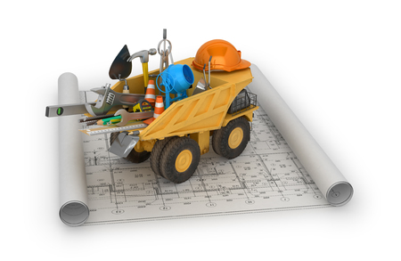graders: Building concept, construction equipment and truck located in the drawing.3D illustration