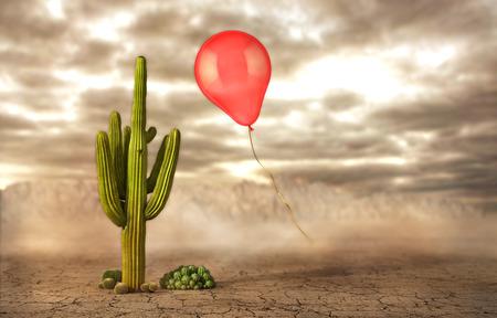 Konzept der Gefahr. Seifenblasen auf einer Wüste Hintergrund in der Nähe des Kaktus fliegen. Risiko. 3D-Darstellung Standard-Bild