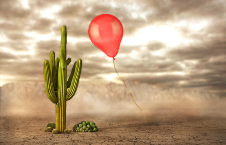 Concept of danger. Soap bubbles flying near the cactus on a desert background. Risk. 3d illustration Stock Photo