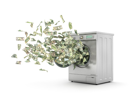 laundering: Money laundering concept. Dollar bills flying from the washing machine. 3d illustration