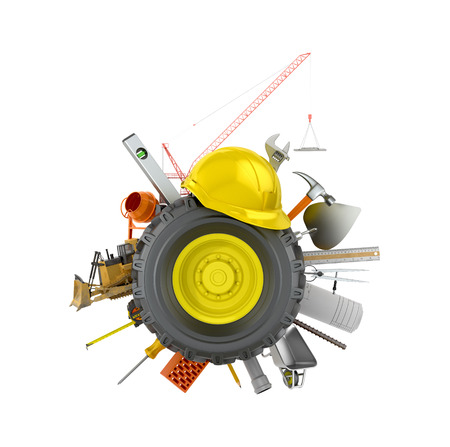 Car wheel with construction tools and materials on a white background.3D illustration Stock Photo
