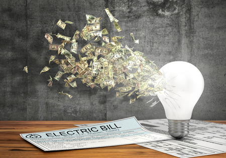 money flying: Concept of economy of energy. Money flying from the hole in lightbulb near electric bills on a concrete wall background. 3d illustration