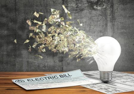 money flying: Concepto de la economía de la energía. Vuelo del dinero del agujero en bombilla cerca de las facturas de electricidad en un fondo de muro de hormigón. 3d ilustración Foto de archivo