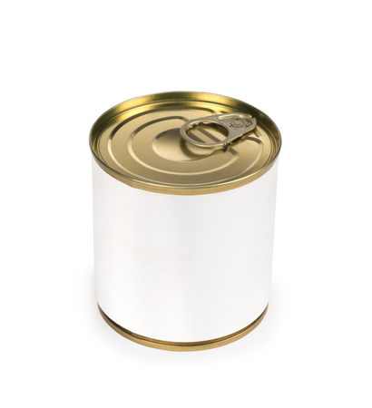 tinned goods: Metal can for preserved food on white background