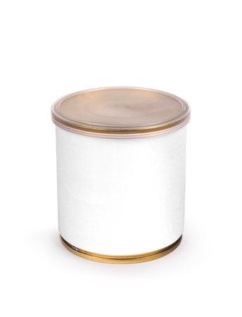 hermetic: Metal can for preserved food on white background
