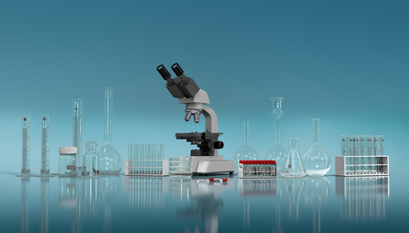 3D render, illustration.Science concept, Chemical laboratory glassware, microscope and glass test tubes