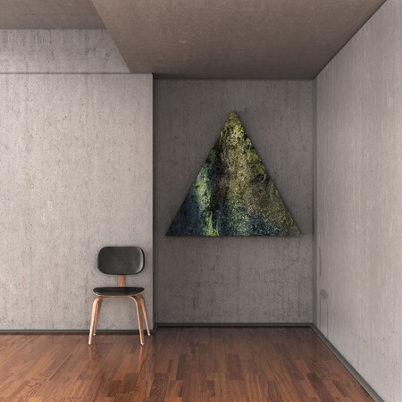 paper sculpture: Art gallery, art object in the shape of a triangle hanging on a concrete wall, a chair near the wall. 3d illustration Stock Photo