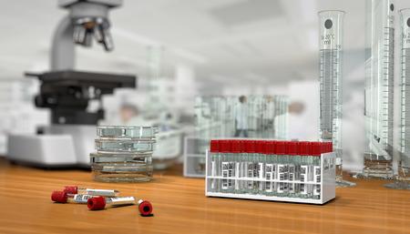 reagents: 3D render, illustration.Science concept, Chemical laboratory glassware, glass test tubes for blood