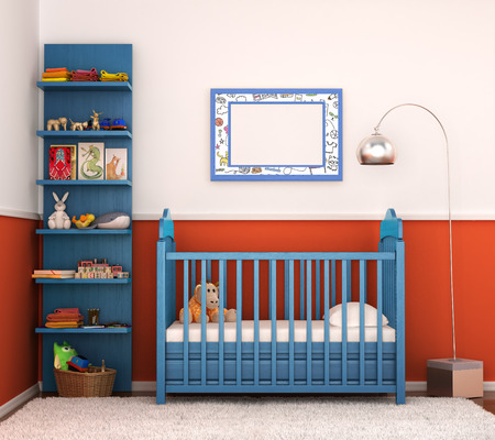 furniture transport: interior is modern childrens room with bright walls and crib for the baby. 3D illustration