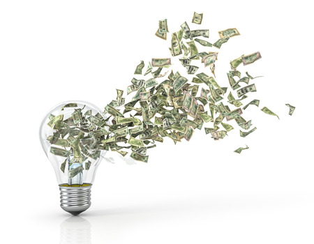 Concept of economy of energy. A profitable idea.  Money flying from the hole in lightbulb on a white background. 3d illustration