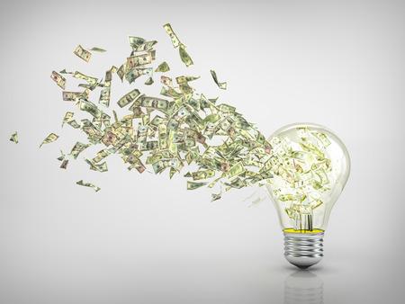 dinero volando: Concepto de la econom�a de la energ�a. Una idea rentable. Vuelo del dinero desde el agujero en la bombilla. 3d ilustraci�n