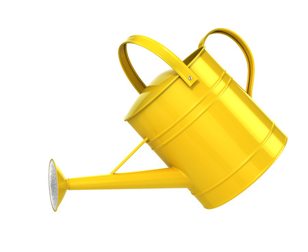 Yellow watering can isolated on a white background. 3d illustration