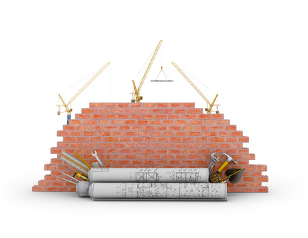 Building concept on a white background. 3D illustration Stock Photo
