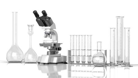mesure: 3D render illustration. empty laboratory  glassware whith laboratory microscope on white background Stock Photo