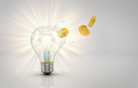Concept of saving electrical. Coins emitted from a hole punched in the destruction of a glowing light bulb. 3d illustration