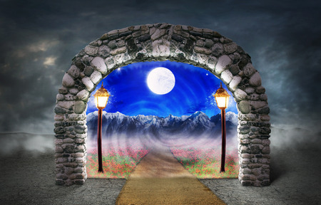 Concept of different dimension. Path among the flowers receding into another space through a stone arch with a grim desert outside. Concept of mysterious portal.