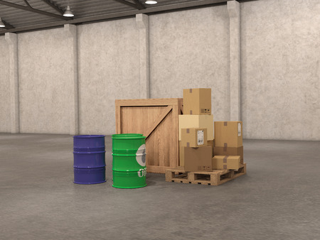 forwarding: box in warehouse; 3d illustration
