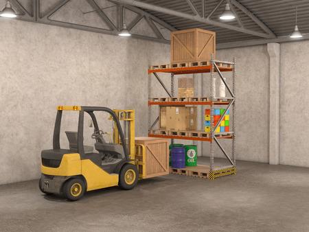 stockpile: warehouse with loader, 3d illustration